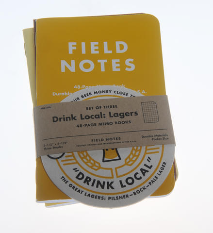 Drink Local Lagers Field Notes. $10 at Sixteen Tons.