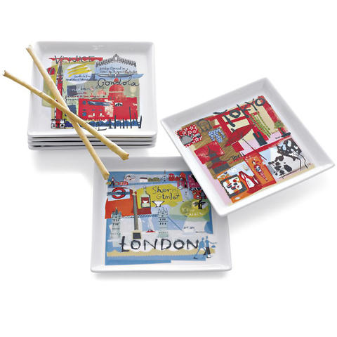 Appetizer plates with city themes ranging from London to Tokyo come in a set of six. $24.95 at Crate & Barrel