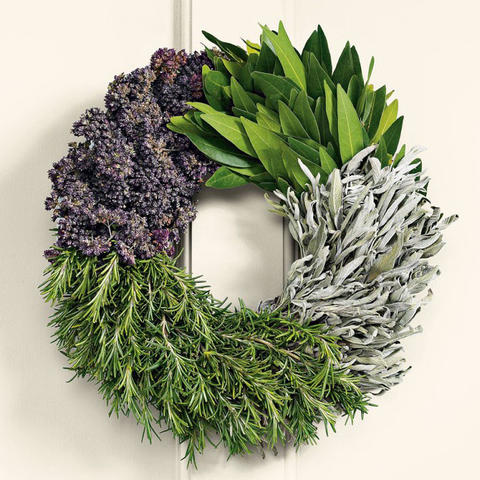 This delightful cook's herb wreath is made of bay leaf, sage, rosemary and oregano and can be safely used in your recipes. $49.95 at Williams-Sonoma