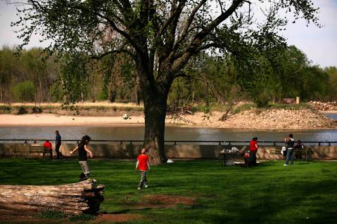 People enjoy the green space at Starved Rock State Park.