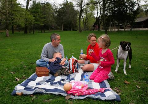 The Graber family of Western Springs have a picnic at Starved Rock State Park.