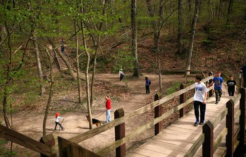 People hike at Starved Rock State Park.