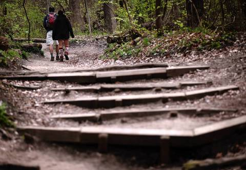 People hike on one of the trails at Starved Rock State Park.