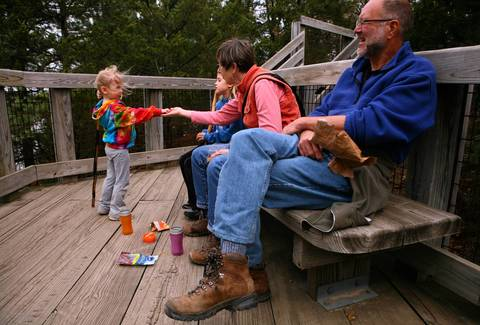 Joyce and John Cassel of Oak Park picnic with the grandchildren, Talia, 7, (left) and Malie, 4, at Starved Rock State Park.