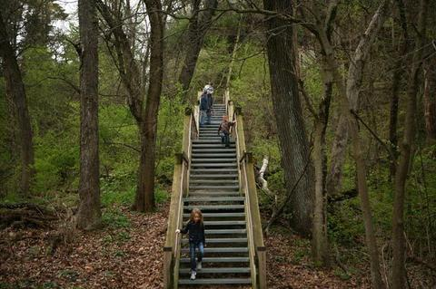 The Jaskowski family of Yorkville hikes at Starved Rock State Park.