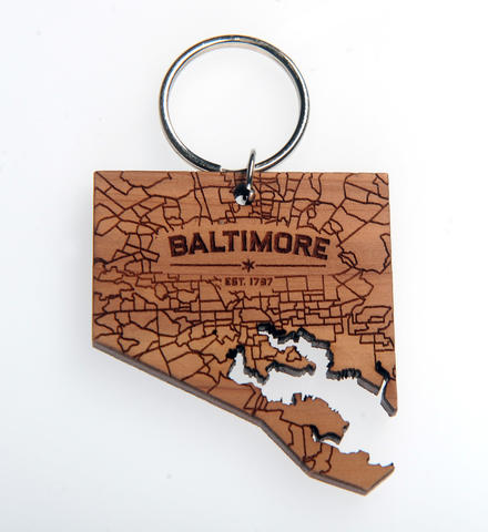 Baltimore wood keychain. $10 at Trohv.