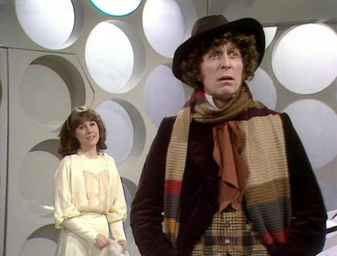 """TARDIS tenure: 1974-81 The longest serving Doctor, Tom Baker was famous for his Doctor's fun eccentricities, the iconic long knitted scarf and floppy hat and his companion Sarah Jane Smith (Elisabeth Sladen, left), who would go on to star in her own """"Who"""" spinoff series."""