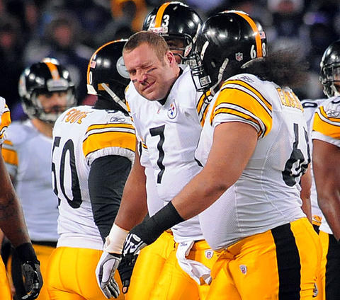 The Ravens' Haloti Ngata , not pictured, broke Steelers quarterback Ben Roethlisberger 's nose, but Pittsburgh pulled out a three-point victory at M&T Bank Stadium .