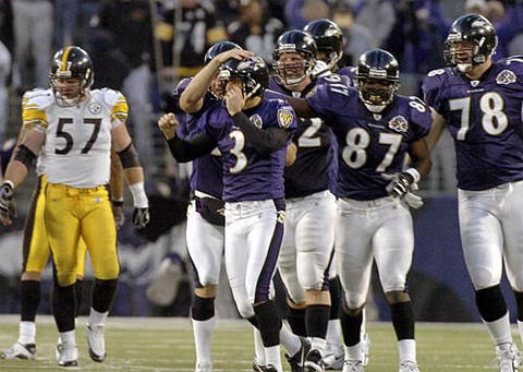 Ravens kicker Matt Stover and his teammates celebrate his 44-yard game-winning field goal in overtime against the Steelers . Stover's kick capped the winning, 30-yard drive and the 3-hour, 42-minute marathon, sending thousands of Steelers fans home unhappy and causing a raucous on-field celebration that spilled into an electric locker room.