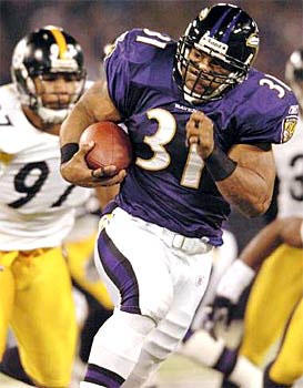 Jamal Lewis breaks loose for a 25-yard touchdown run in the first quarter. He finished with 114 for the game and 2,066 for the season, No. 2 all-time and 39 yards short of Eric Dickerson 's NFL record. The game ended with Matt Stover's 47-yard field goal 3:28 into overtime.