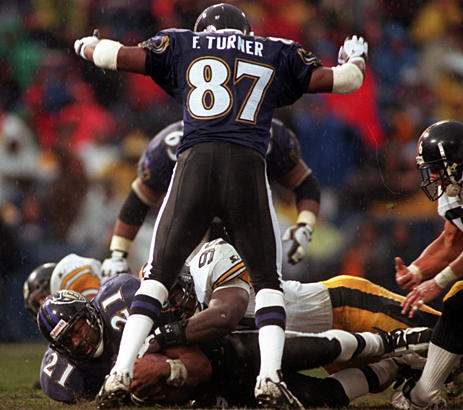 Ravens wide receiver Floyd Turner (foreground) celebrates after running back Earnest Byner's 7-yard touchdown against the Steelers . Rookie offensive lineman Jonathan Ogden scored his first career touchdown on a 1-yard pass from Vinny Testaverde in the first quarter of the Ravens' 31-17 win.