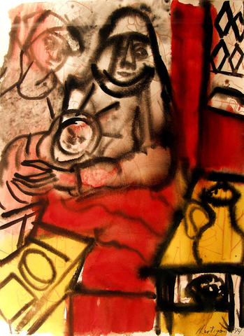 "Even the most tender-hearted of the women painted by the late Abstract Expressionist Grace Hartigan seem to muscle their ways out of the canvas. Take Hartigan's ""Madonna in Red Bed"" from 1994. This Virgin Mary might love her kid, but you wouldn't want to mess with her. Hartigan was described in Life magazine in 1957 as ""the most celebrated of the young American woman painters."" This watercolor costs $10,000. Gallery site: cgrimaldisgallery.com."