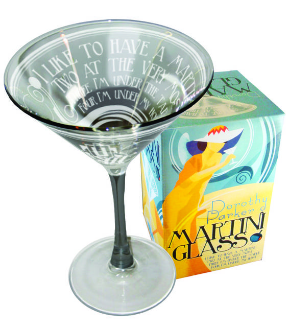 Share a laugh over this Dorothy Parker-themed Martini glass from the Unemployed Philosophers Guild. (14.95, philosophersguild.com/Dorothy-Parker-Martini-Glass.html)