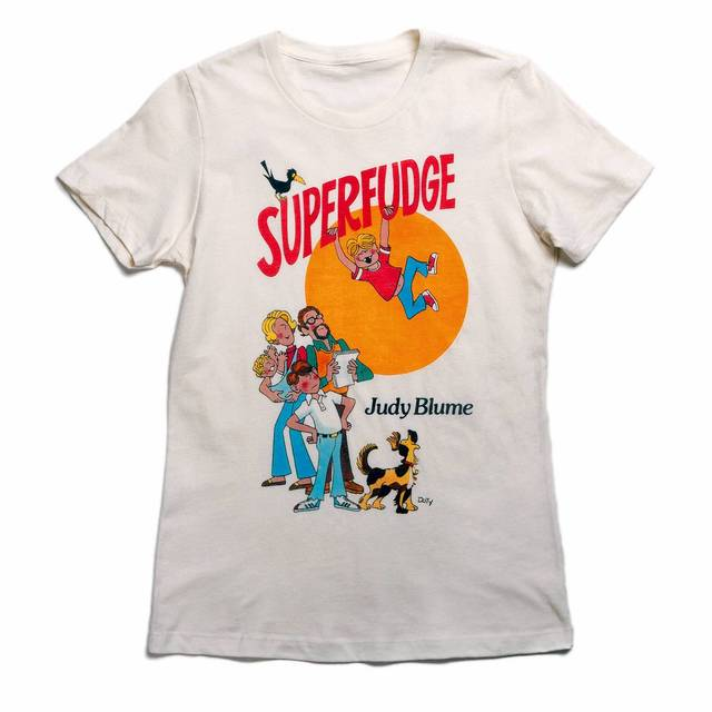 "This 100 percent cotton of ""Superfudge"" by Judy Blume is a must for fans of the book, based on the 1980 first edition cover by Roy Doty. ($16. bit.ly/1cOz9eV)"