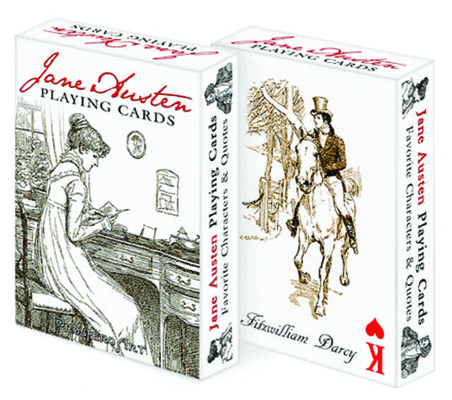 Dish out these Jane Austen playing cards from the Reader's catalog. ($9.95, bit.ly/1fRuex7)