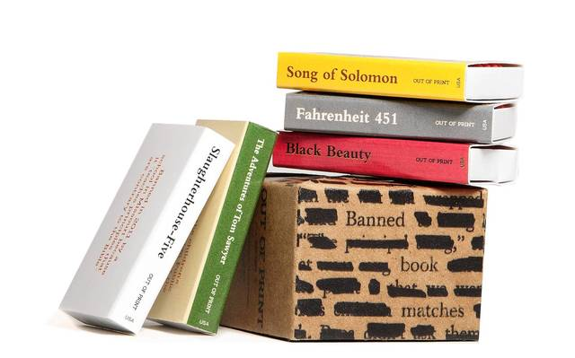 This match book set includes five individual match books decorated with banned book covers ($8, bit.ly/169OkkD)