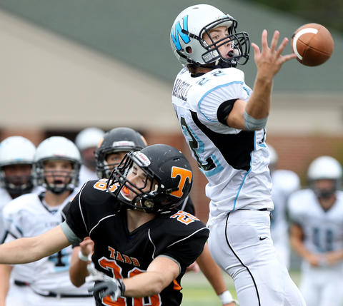 Taylor Lyons of Wahill breaks up this pass intended for Austin Hehir of Tabb during the third quarter Saturday.