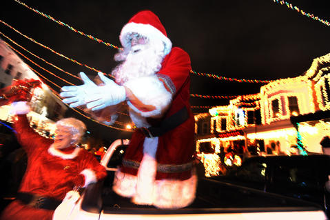 Santa and Mrs. Claus count down to the annual lighting of the Christmas lights in Hampden.