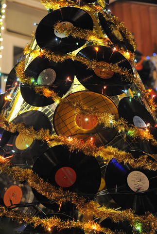 A Christmas Tree made from vinyl records on 34th Street in Hampden.