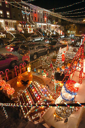 Houses with Christmas light displays can be seen in the 700 block of 34th Street in Hampden.
