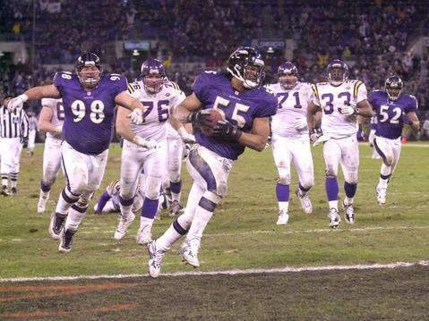 Ravens linebacker Jamie Sharper scores on a fumble return.