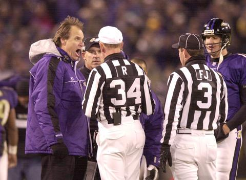 Ravens coach Brian Billick argues a call.