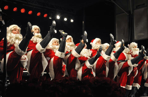Tap Dancing Santas from the Baltimore School for the Arts at the 42nd annual lighting of Baltimore's Washington Monument