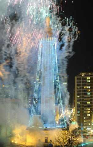 This is the annual lighting of the Washington Monument, to celebrate the start of the Christmas season. This was shot from the Park Plaza building on North Charles Street.