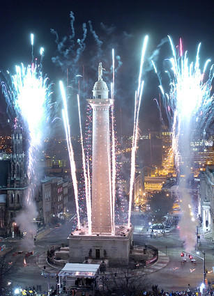 This view of the 36th lighting of the Washington Monument was captured from the 11th floor of the Peabody Court Hotel.