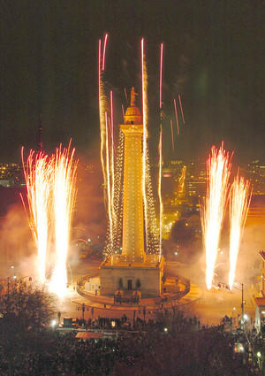 The 34th annual lighting of the Washington Monument in Mount Vernon.