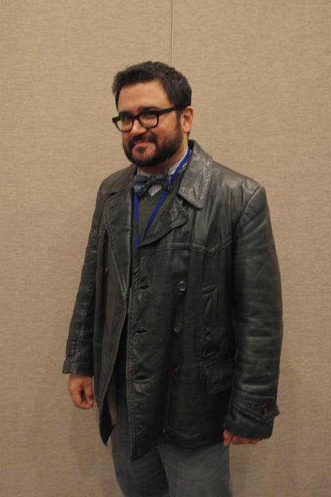 Redeye Resident Geek Elliott Serrano tries on the 9th Doctor's (Chris Eccelston) screen-worn jacket.