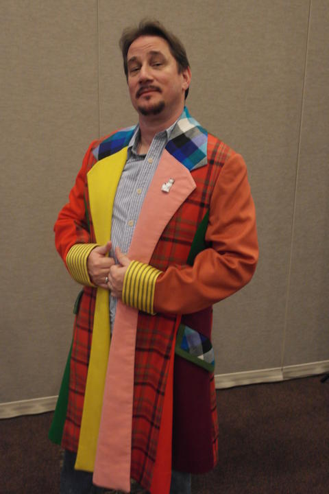 Doctor Who comic-book writer Tony Lee wears the 6th Doctor (Colin Baker) jacket.