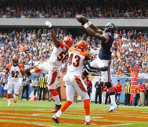 Week 1: Martellus Bennett was the first Bears player to score a touchdown in the first quarter against the Bengals.