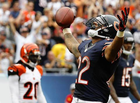 Week 1: Matt Forte scored the second touchdown of the season for the Bears with a one yard run in the third quarter. The Bears would close in on the Bengals, but still trailed them 21-17.