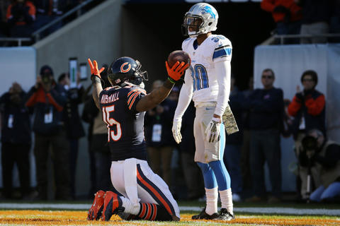 Brandon Marshall caught a 32-yard pass from Jay Cutler on the opening drive on the game against the Lions.