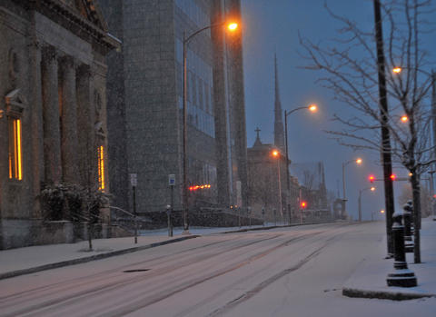 Hamilton Street in Allentown is covered in snow early Tuesday morning.