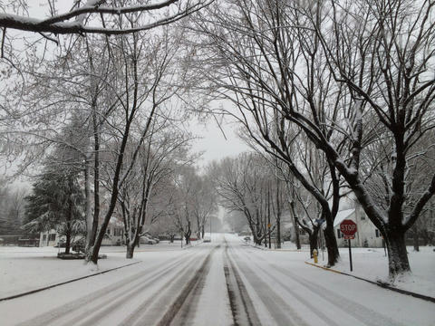 Snow covers Troxell Street in Hanover Township early Tuesday morning.