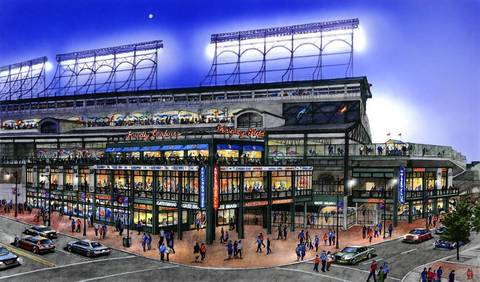 Rendering of proposed modifications to the right field corner of Wrigley Field. The new structure housing a new 14,000-square-foot Captain Morgan Club would feature an additional level and a deck on top, which team officials said would alleviate congestion the club's current outdoor patio creates on the sidewalk at street level. The new building also would include a team store and space for the visitor's club house. Signage on top of the structure also would include advertisements.