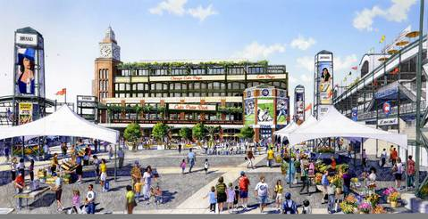 A new drawing of the proposed plaza next to Wrigley Field is seen with a farmers market with a six-story office-and-retail building.