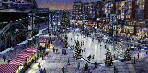 A new drawing of the proposed plaza next to Wrigley Field is decked out for Christmas. A seven-story hotel is at right, across Clark Street.