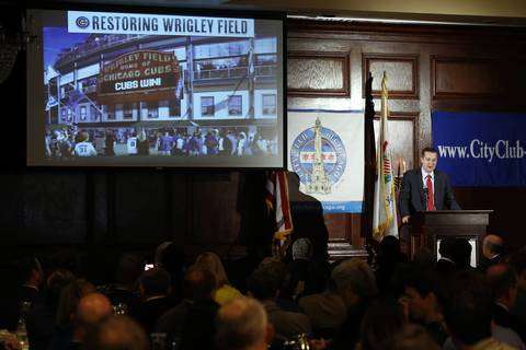 Chicago Cubs Chairman Tom Ricketts addresses the City Club of Chicago today. Ricketts provided details of his family¿s proposed $500 million investment in Wrigley Field and the Wrigleyville neighborhood, which will be formally filed with the City of Chicago.