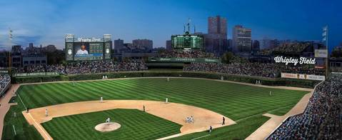This rendering of Wrigley Field shows the proposed 6,000-square-foot video board in left field, including advertising on either side and on top. The drawing also includes a new, 1,000-square-foot ribbon advertisement in right field, a new LED board in front of the left-field bleachers, advertisements near the left and right-field foul poles and a new LED board in center field above the batter's eye backdrop. In all instances where Wrigley Field appears in the rendering, an advertisement would take its place.