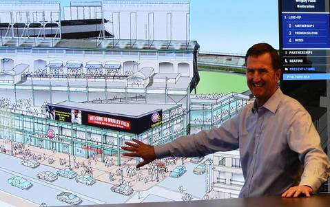 Cubs President of Baseball operations Crane Kenney goes over details of the major renovations plans for Wrigley Field and the immediate area around ballpark. Architect Rebel Roberts has been hired by the Cubs to make the desired changes.