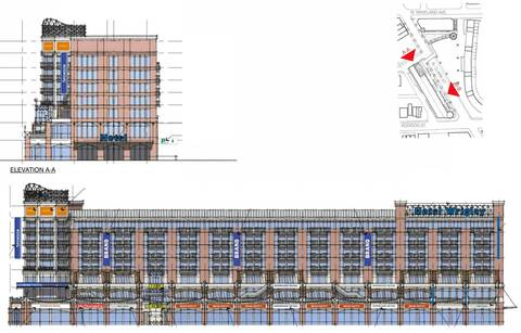 "The 175-room hotel, health club, dining and retail development Cubs owner Tom Ricketts has proposed building at the northwest corner of Clark and Addison streets. The 91-foot tall structure would have seven floors with advertisements appearing on the orange panels near the top of the building and the blue ""blade signs"" on the front and sides of the building."