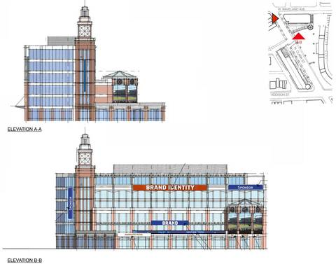 The team's six-story office and retail building would include a clock tower and advertisements on the building's sides. A three-panel video board would be featured on the south side of the building, which team officials said would be used for advertisements, Cubs highlights and local movie nights for neighbors.