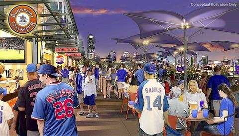 Shown here are ideas for the upper level seating and concessions area.