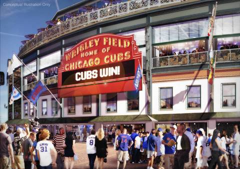 Much of the exterior surrounding Wrigley Field's landmark marquee would be restored to how it appeared in the 1930s, including restoring windows, terra cotta and wrought-iron fencing to the stadium's facade. There also would be an expanded terrace off the stadium's upper deck above the marquee.