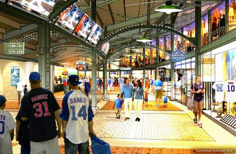 Shown here are ideas for the stadium concourse.