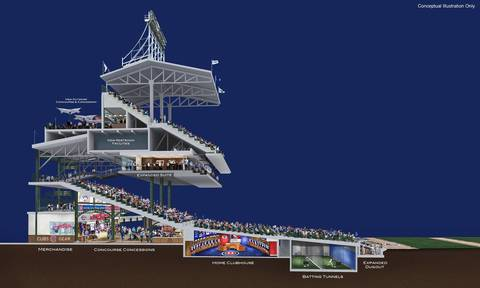 This conceptual illustration shows proposed modifications to Wrigley Field including new luxury boxes, concessions and seating.