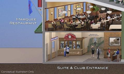 Shown here are ideas for the Marquee Restaurant and Suite/Club seating entrance.